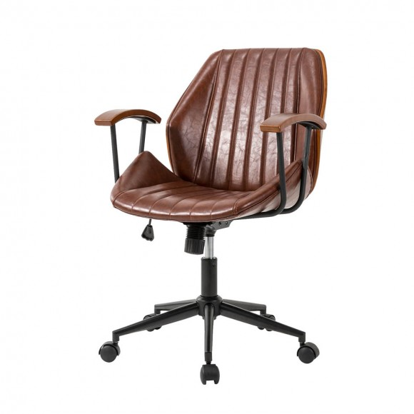 Glitzhome Russet Leatherette Adjustable Swivel Desk Chair/Task Office Chair