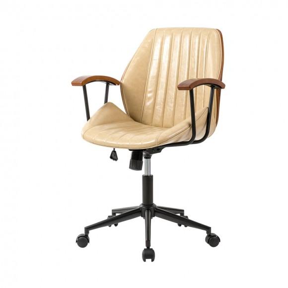 Glitzhome Cream Leatherette Adjustable Swivel Desk Chair/Task Office Chair