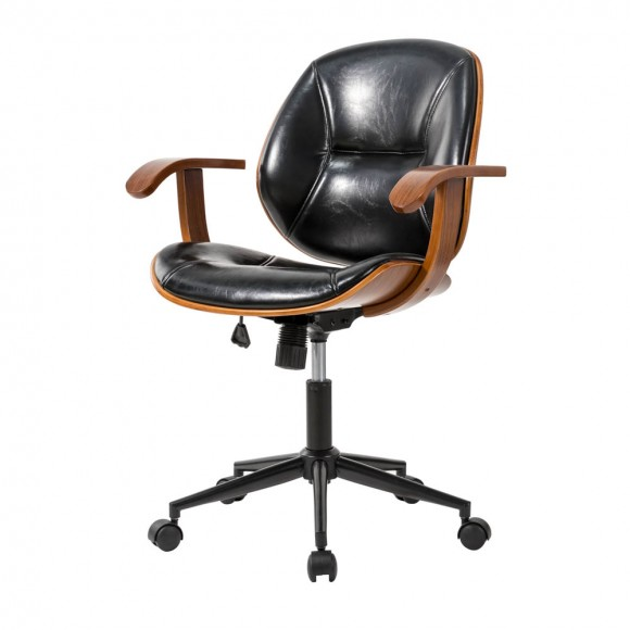 Glitzhome Black Leatherette Adjustable Swivel Desk Chair/Task Office Chair