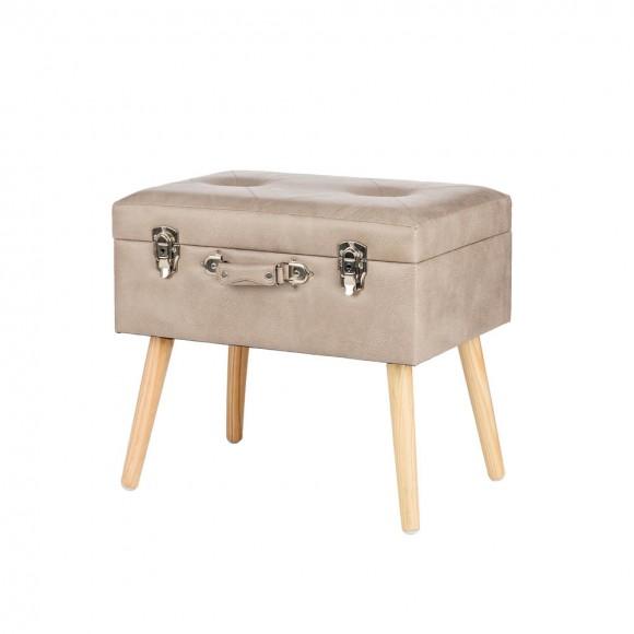 "Glitzhome 19.69""L Morandi Light Grey Leathaire Upholstered Storage Stool"