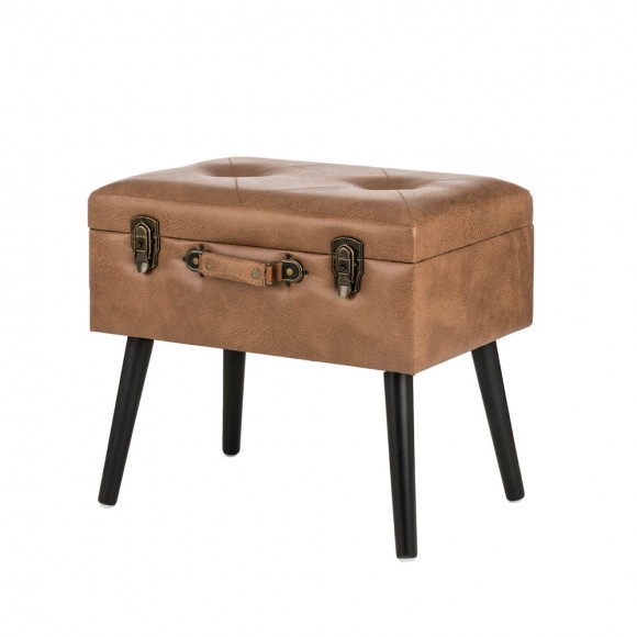 """Glitzhome 19.69""""L Whiskey Brown Leathaire Upholstered Storage Stool"""