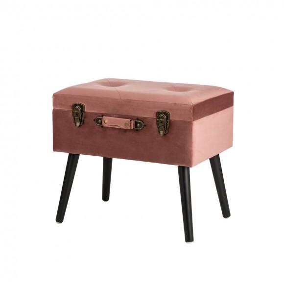 "Glitzhome 19.69""L Pink Clay Velvet Upholstered Storage Stool"