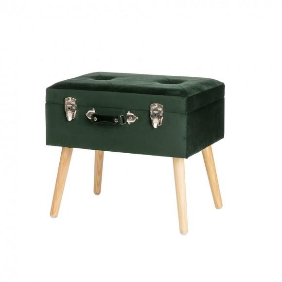 """Glitzhome 19.69""""L Hunter Green Velvet  Upholstered Storage Stool"""