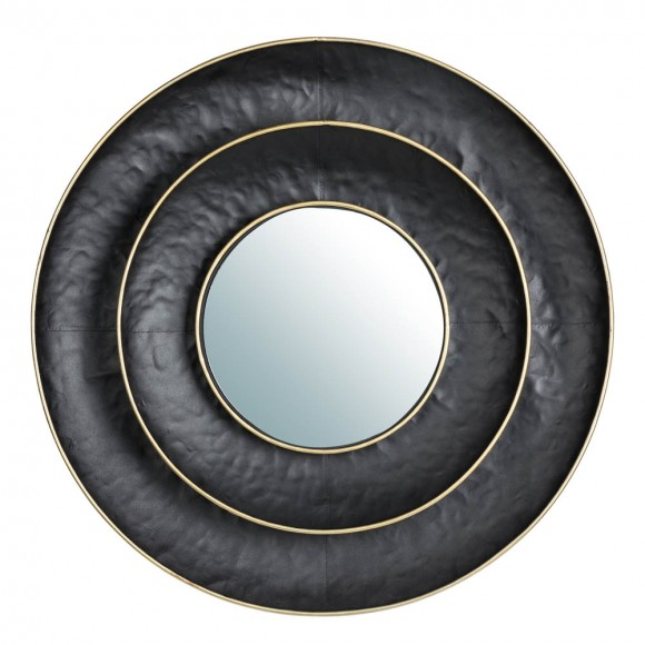 """Glitzhome 27.36""""D Black With Golden Trimming 3D Round Metal Wall Mirror"""
