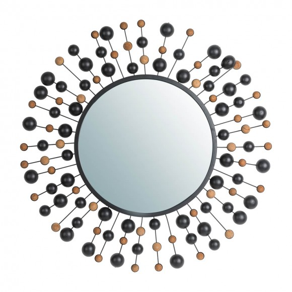 """Glitzhome 34.65""""D Oversized Metal Framed With Beads Round Wall Mirror"""