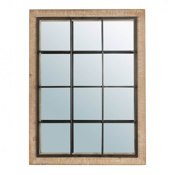 "Glitzhome 31.5""H Farmhouse Wooden/Metal Windowpane Rectangular Wall Mirror Decor"