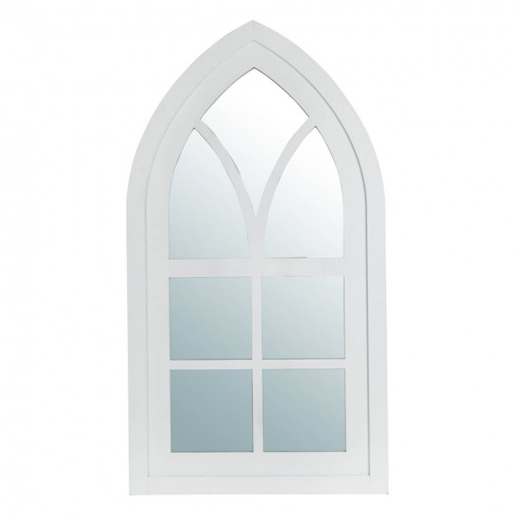 "Glitzhome 40.16""H Wash White Wooden Cathedral Windowpane Wall Mirror Decor"