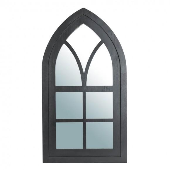"Glitzhome 40.16""H Black Wooden Cathedral Windowpane Wall Mirror Decor"