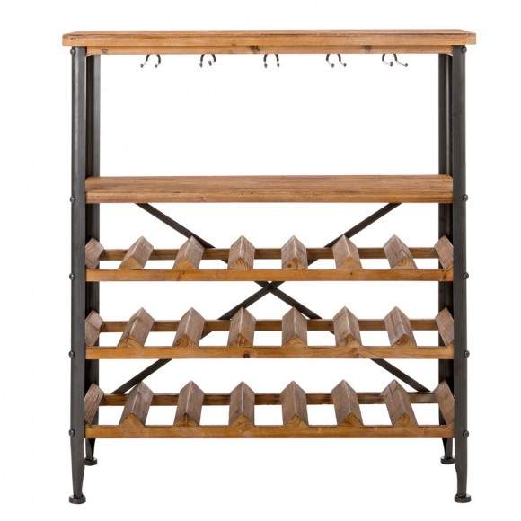 Glitzhome 21 Bottle Floor Wooden Wine Bottle and Glass Rack with Metal Frame