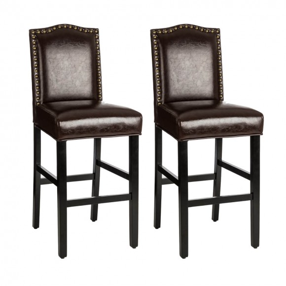 Glitzhome Coffee Bonded Leather High-back Barchair with Studded Decor, Set of 2