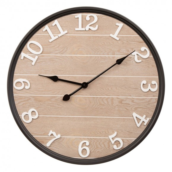 "Glitzhome 23.60""D Farmhouse Metal Wooden Round Wall Clock"