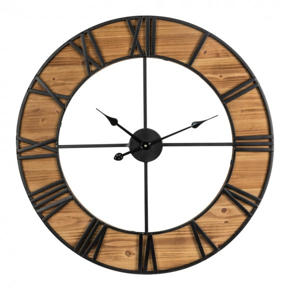 """Glitzhome 30.00""""D Oversized Farmhouse Wooden & Metal Center Cutout Design Wall Clock"""