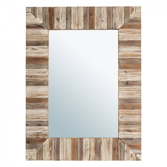 "Glitzhome 39.70""H Farmhouse Rectangle Wooden Frame Wall Mirror"