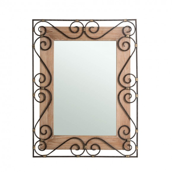 "Glitzhome 38.98""H Traditional Rectangle Wooden And Metal Scroll Wall Mirror"