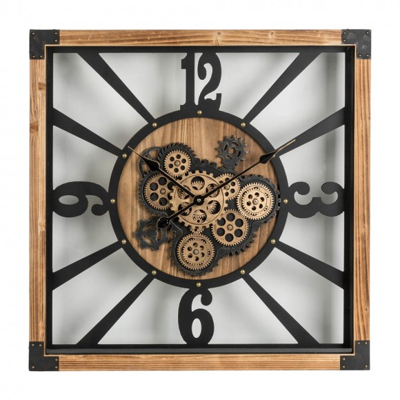 """Glitzhome 27.17""""H Industrial Wooden/Metal Square Gear Wall Clock"""