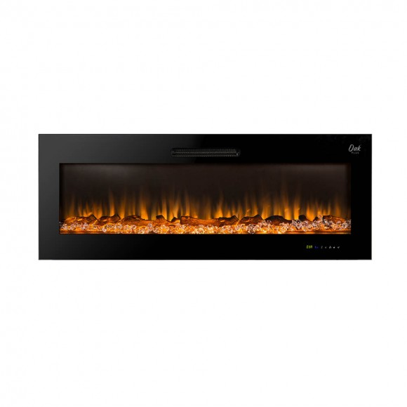 """Oak PLUS 50""""L Wall Mounted or Recessed Electric Fireplace With 9 Color Flames, Faux Log & Crystal Decorated"""