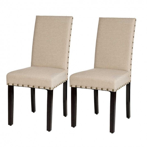 Glitzhome Cream White Fabric Dining Chair with Adjustable Feet Nails,Set of 2