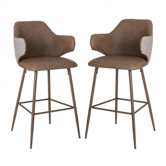 Glitzhome Dark Brown Mixing Leatherette/Gray Fabric Bar Stool,Set of 2