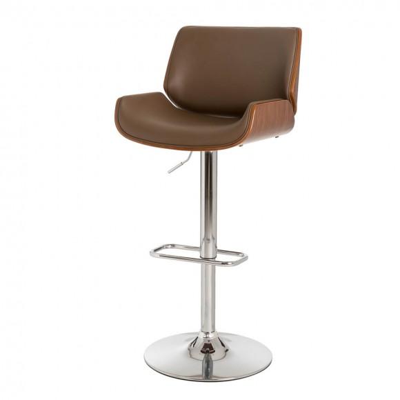 Glitzhome Mid-century Modern Leather Yellowish-brown Adjustable Height Swivel Bar Stool