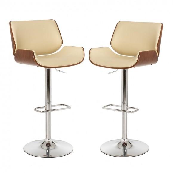 Glitzhome Mid-century Leather Modern Beige Adjustable Height Swivel Bar Stool,Set of 2
