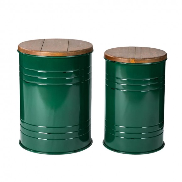 Glitzhome Hunter Green Modern Metal Storage Accent Table or Stool with Solid Wood Lid, Set of 2