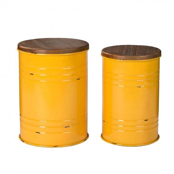 Glitzhome Yellow Modern Metal Storage Accent Table or Stool with Solid Wood Lid, Set of 2