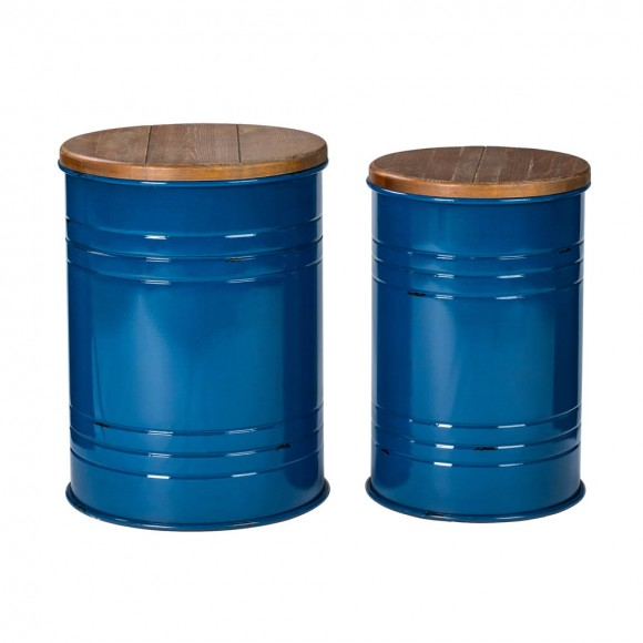 Glitzhome Navy Blue Modern Metal Storage Accent Table or Stool with Solid Wood Lid, Set of 2