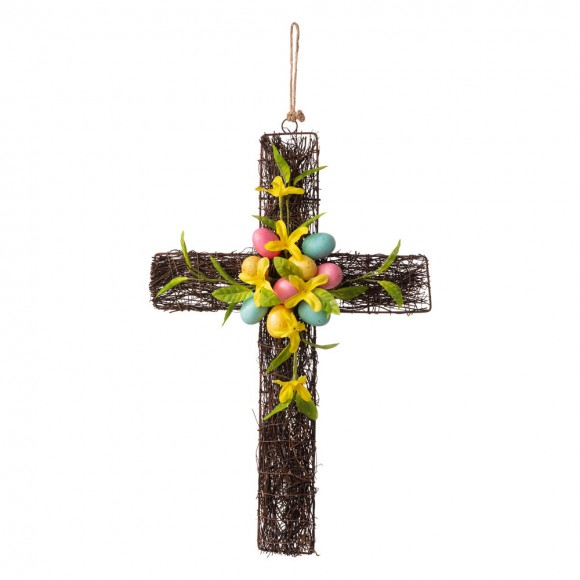 """Glitzhome 18""""H Easter Floral Cross"""