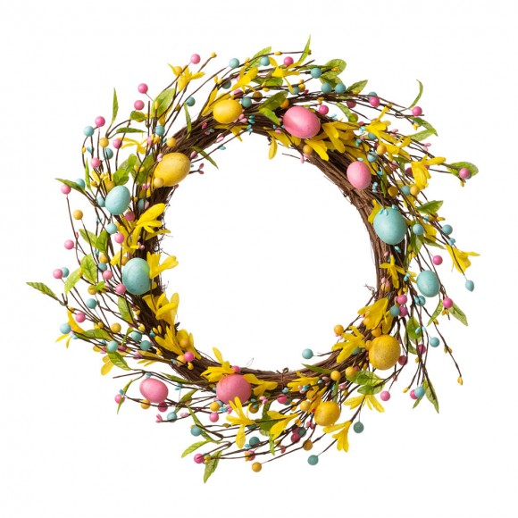 """Glitzhome 22""""D Easter Wreath With Multicolor Easter Eggs"""
