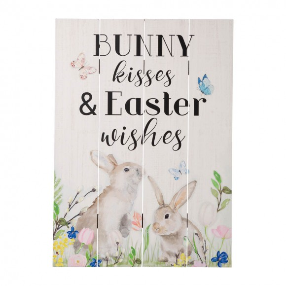 """Glitzhome 18""""H Easter Wooden Bunny Wall Decor"""