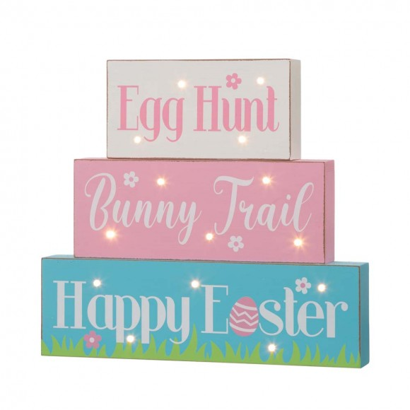 """Glitzhome 12""""L Easter LED Lighted Wooden/Metal Block Word Sign (14 Bulbs)"""