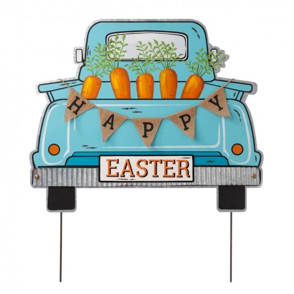"""Glitzhome 26""""H Easter Metal Truck Yard Stake or Wall Décor or Standing Decor"""