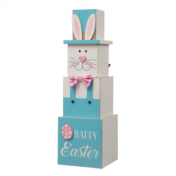 """Glitzhome 24""""H Wooden Double Sided Easter And July Fourth Decor"""