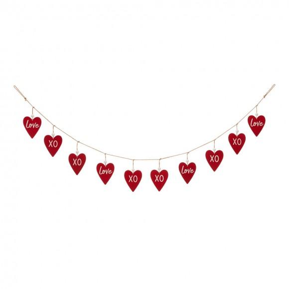 """Glitzhome 72""""L Valentine's Wooden/Metal Heart Garland"""