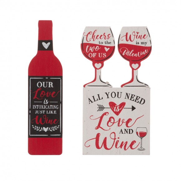 """Glitzhome 9""""H Valentine's Wooden Winebottle & Cup Gift Set Table Decor"""