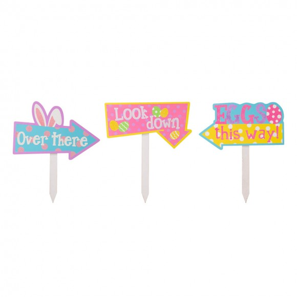 """Glitzhome 14""""H Easter Wooden Path Sign, Set of 3"""