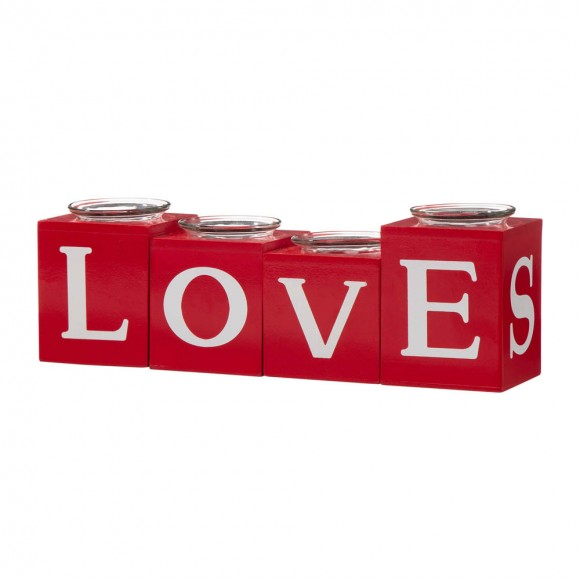 """Glitzhome 12""""L Valentine's Wooden Love/XoXo/Huge/Kiss All Round Candle Holder Table Decor"""
