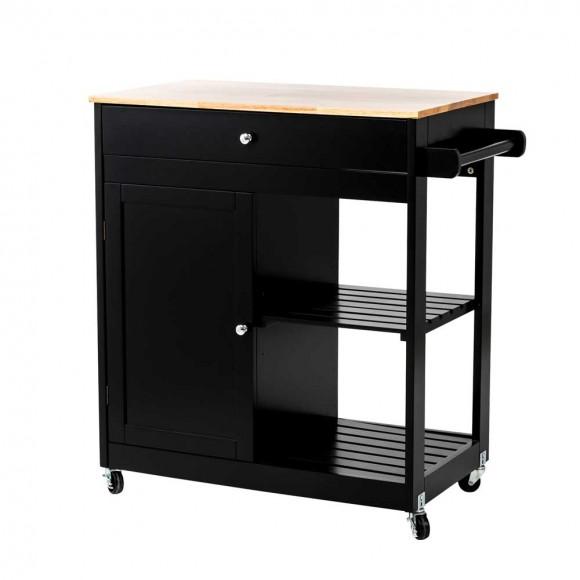 "Glitzhome 33.86""H Black Kitchen Island Cart with Solid Oak Wood Top"