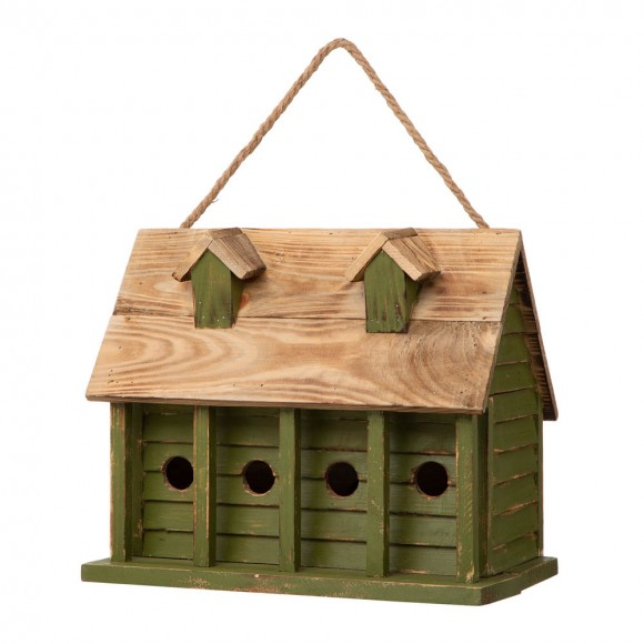 "【PRE-ORDER】Glitzhome 14.25""L Oversized Distressed Solid Wood Cottage Birdhouse — Ship After 5/14, 2021"