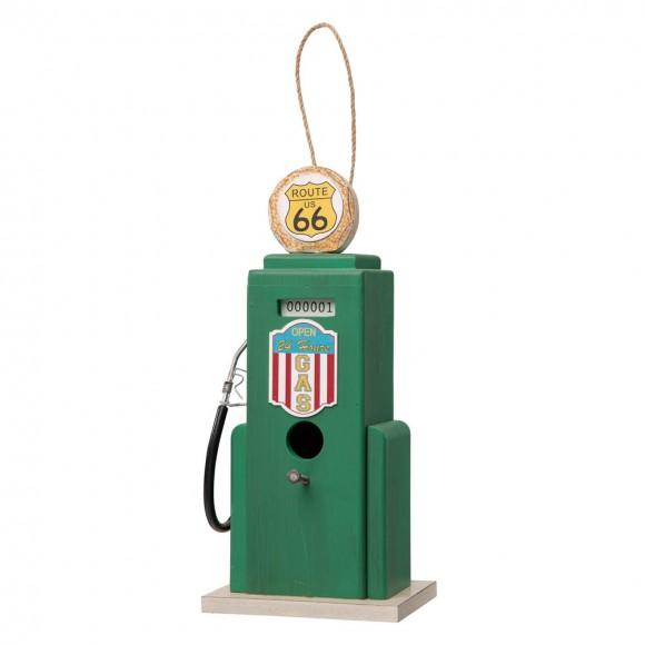 "Glitzhome 13.75""H Wood Green Gas Pump Birdhouse"