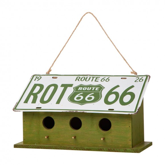 """Glitzhome 14""""L Wood/Metal Green Birdhouse with Licence Plate Roof"""