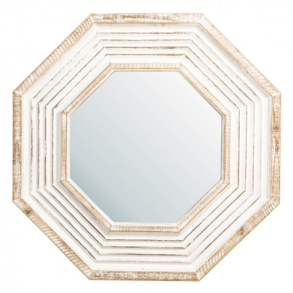 【PRE-SALE】Glitzhome Vintage Octagonal Wooden Wall Mirror — Ship After 3/25, 2021