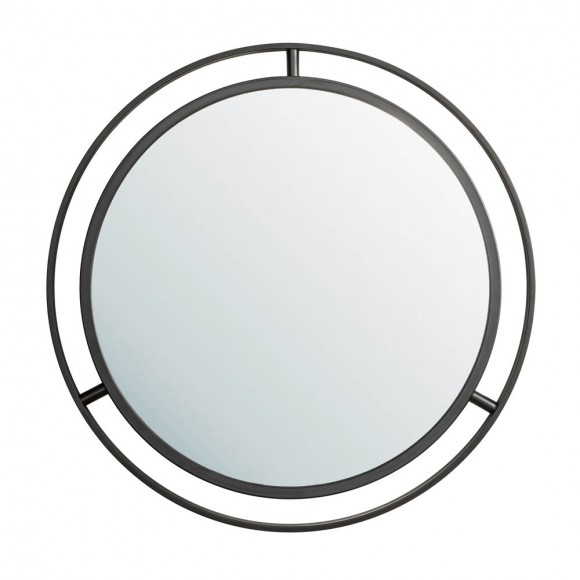 """Glitzhome 24.00""""D Deluxe Black Metal Round Wall Mirror"""