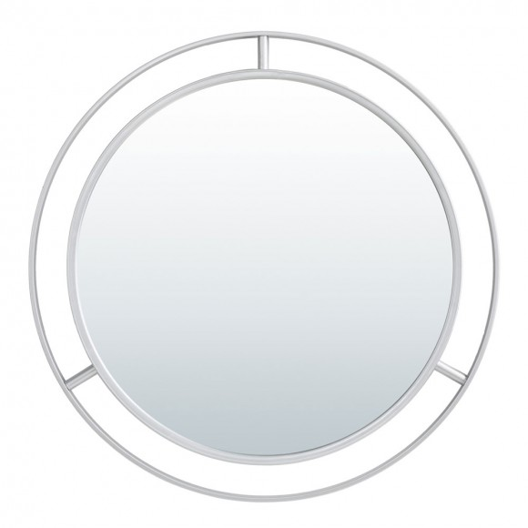 """【PRE-SALE】Glitzhome 28.00""""D Oversized Deluxe Silver Metal Round Wall Mirror — Ship After 2/28, 2021"""