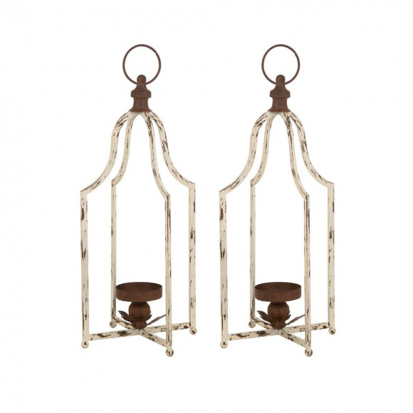 "Glitzhome 22""H Large Farmhouse Rustic Metal Lantern, Set of 2"