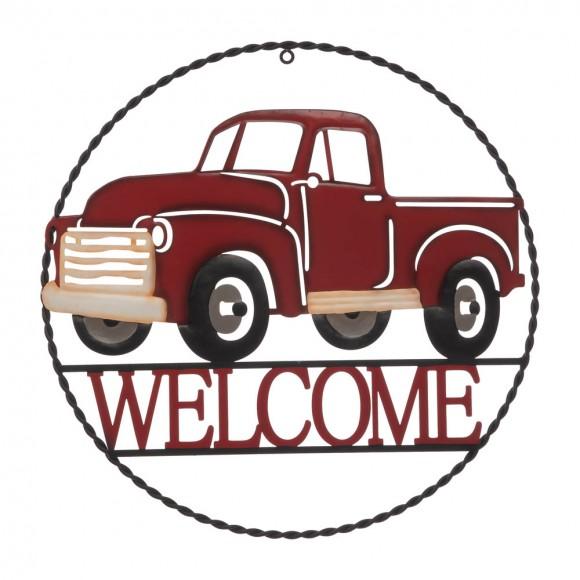 "Glitzhome 20""D Farmhouse Metal Truck ""WELCOME"" Sign Wall Decor"