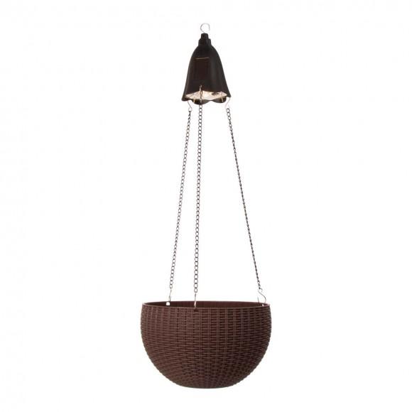 "Glitzhome 30""H Solar Lighted Brown Plastic Hanging Basket/Planter"