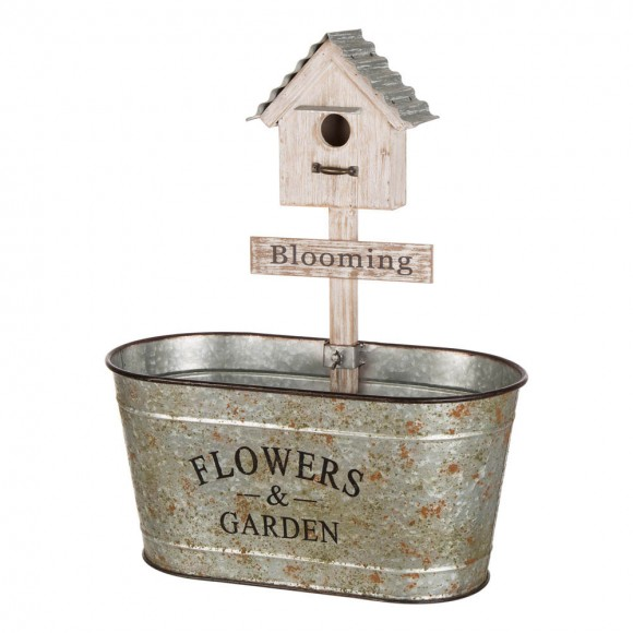 """Glitzhome 24.5""""H Farmhouse Galvanized Metal Outdoor Plant Stand with a Birdhouse Décor"""