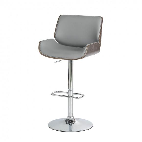 Glitzhome Mid-century Modern Gray Adjustable Height Swivel Bar Stool