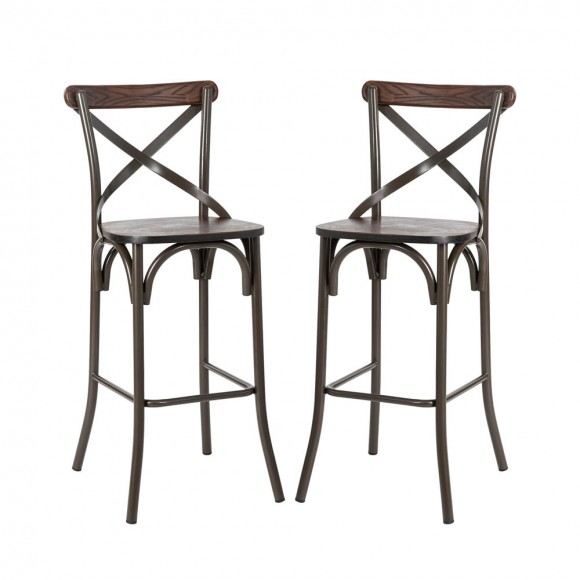 """【Pre-Order】Glitzhome 43.00""""H Rustic Steel Bar Stool with Solid Elm Wood Seat and Back Support, Set of 2 — Ship After 7/29, 2021"""